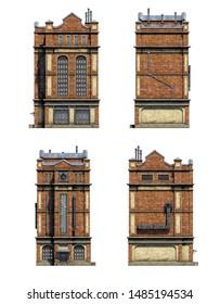 Set of 3d-renders of old industrial building
