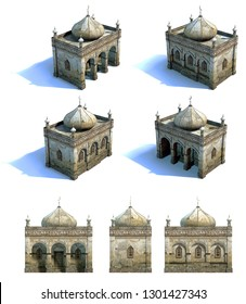 Set of 3d-renders of old mosque