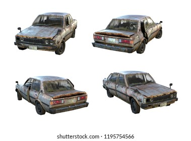 Set of 3d-renders of old rusty classical sedan car