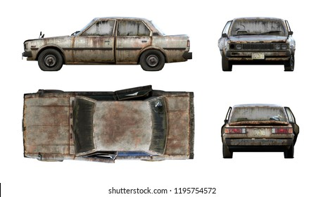 Set of 3d-renders of old rusty classical sedan car