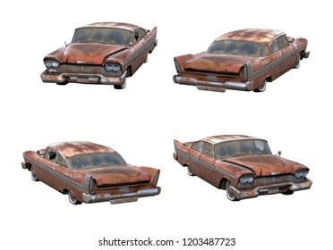 Set of 3d-renders of old rusty muscle car without shadows