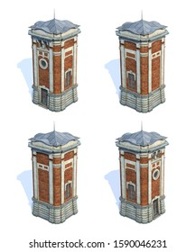 Set of 3d-renders of old-style brick water tower on white