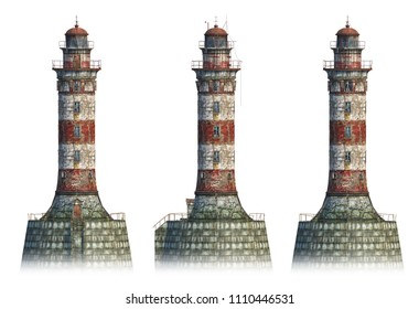 Set of 3D-rendes of abandoned lighthouse