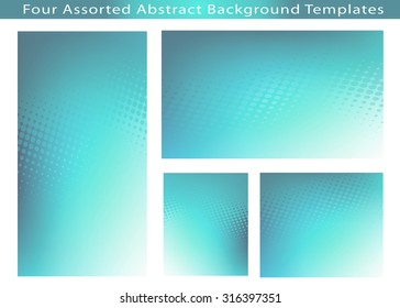 Set of 4 Abstract soft teal dot swirl medical or business background template illustrations with plenty of copy space.