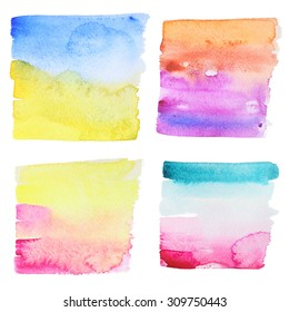 Set of 4 abstract watercolor painted backgrounds. Abstract hand drawn watercolor background, for backgrounds or textures