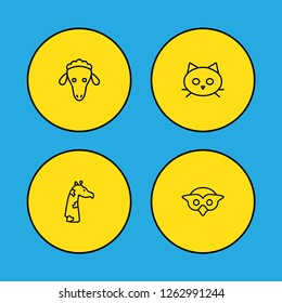 Set of 4 alive icons line style set. Collection of tomcat, merinos, night fowl and other elements.