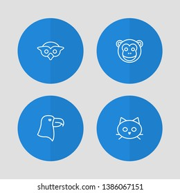 Set of 4 animal icons line style set. Collection of aquila, tomcat, ape and other elements.