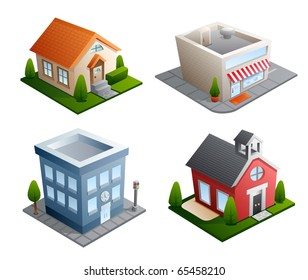 Set of 4 building illustrations - House, Store, Office, School
