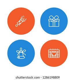 Set of 4 cheerful icons line style set. Collection of petard, bell, calendar and other elements.
