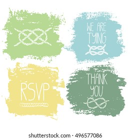 Set of 4 decorative wedding and romantic elements. Watercolour hand drawn squares with lettering and navy decorations. Trendy pastel green, yellow and blue shapes with rough edges isolated on white