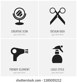 Set of 4 editable coiffeur icons. Includes symbols such as looking-glass, clippers, spray and more. Can be used for web, mobile, UI and infographic design.
