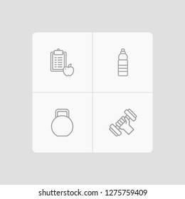 Set of 4 fitness icons line style set. Collection of drink, regime, weights and other elements.