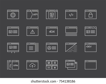 Set of 48x48 Minimal Browser, Developing, App and Coding Raster Line Icons. Perfect Pixel. Thin Stroke.