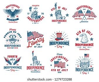 Set of 4th july vintage emblem.  illustration.