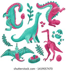 Set of 5 Cute dinosaur color hand drawn textured characters. Dino flat handdrawn clipart.Sketch jurassic reptile. pterodactyl, Tyrannosaurus. Isolated cartoon illustration for kids game,book, t-shirt.