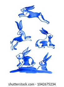 Set of 5 Easter bunnies. Delft blue style watercolour illustration. Traditional Dutch motif with rabbits and hares, cobalt on white background. Elements for your design.