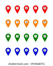 A set of 5 energy sources location icons in four different coulour.