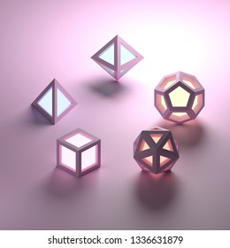 Set of 5 geometric platonic solids emitting light. 3D render or rendering with soft colors.