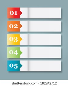 Set of 5 Numbered Paper Style Headers.  illustration