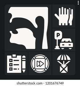 Set of 6 concept filled icons such as fast forward, pharynx, package, gloves, parking
