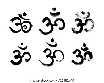 Set of 6 different hand drawn painted om symbols painted by brush isolated on white