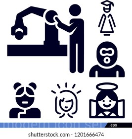 Set of 6 people filled icons such as robot arm, happy woman, graduated lady, burglar, angel