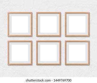 Set of 6 square wooden frames mockup with a border hanging on the wall. Empty base for picture or text. 3D rendering.