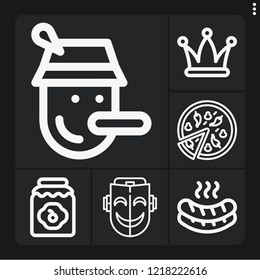 Set of 6 traditional outline icons such as hat, pizza, mask, pinocchio, jam