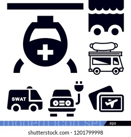 Set of 6 transport filled icons such as helicopter, ticket, electric, swat van, food truck
