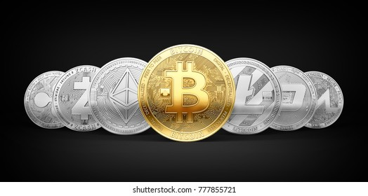 Set of 7 different cryptocurrencies and a golden bitcoin on the front isolated on black background. 3D rendering