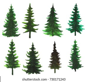 Set of 8 hand painted watercolor trees. Pine Tree Silhouettes.