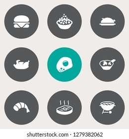Set of 9 dish icons set. Collection of julienne with mushroom, steak, fried duck and other elements.