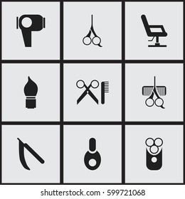 Set Of 9 Editable Coiffeur Icons. Includes Symbols Such As Blade, Barber Tools, Hair Drier And More. Can Be Used For Web, Mobile, UI And Infographic Design.