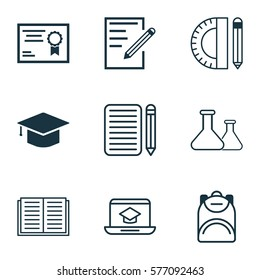 Set Of 9 Education Icons. Includes Chemical, Haversack, Home Work And Other Symbols. Beautiful Design Elements.
