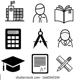 A set of 9 education and school icons in black shades of gray and white isolated on a white background.