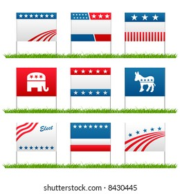 Set of 9 election campaign political yard signs