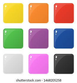 Set of 9 glossy square colorful buttons isolated on white. Illustration for design, game, web.