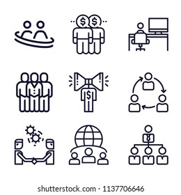 Set of 9 group outline icons such as collaboration, worker, teamwork, worldwide, employees, work team, social relations, promotion