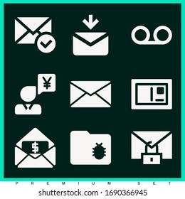 Set of 9 mail filled icons such as voicemail, message, email, folder, secure, postcard, businessman talking about yen