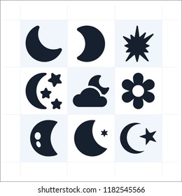 Set of 9 nature filled icons such as night, half moon, crescent moon, explosion