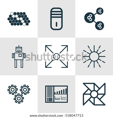 Set 9 Robotics Icons Includes Controlling Stock Illustration