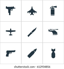 Set Of 9 Simple Army Icons. Can Be Found Such Elements As Sky Force, Cold Weapon, Nuke And Other.