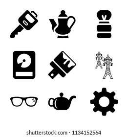 Set of 9 tool filled icons such as car key, teapot, settings, eyeglasses, power line connected towers, shaving brush, paint brush
