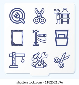 Set of 9 tools outline icons such as plate, scissors, magazine, mirror, crane, house, windsock