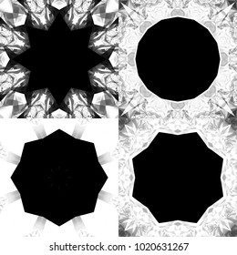 Set of abstract backgrounds black and white kaleidoscopical. Illustrations for design seamless patterns. Bright flowers.