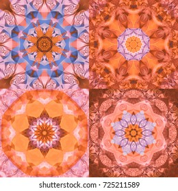 Set of abstract backgrounds colorful kaleidoscopical. Illustrations for design. Bright flowers. Seamless pattern.