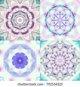 Set of abstract colorful fractals with kaleidoscopical seamless patterns. Beautiful illustrations. Bright flowers.
