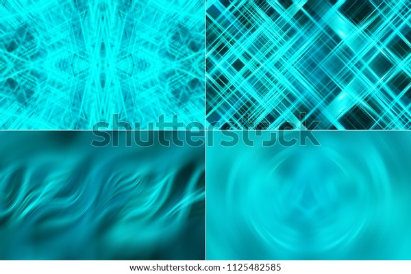 Set of abstract dark blue background. 4 banners. Illustration for design.