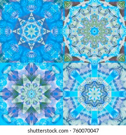 Set of abstract decorative blue textures. Bright flowers. Kaleidoscopic illustration seamless.