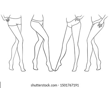 Set of abstract of the female walking barefoot, hand drawing outline